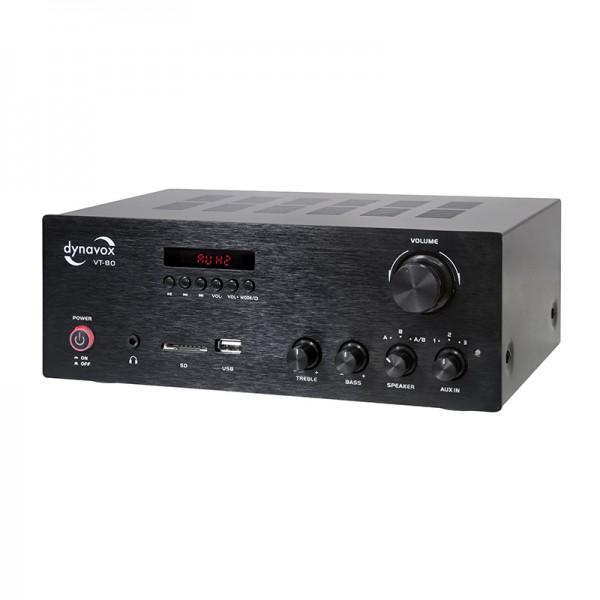 Stereo Kompaktverstärker mit SD/USB-Eingang, 160 Watt, 25x18x9,5 cm