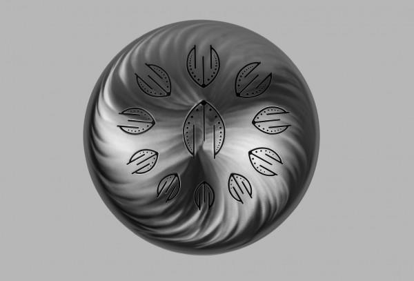 Mandalafon, Pentasonic Edelstahl-Tongdrum, 11 Zungen, D-Dorisch