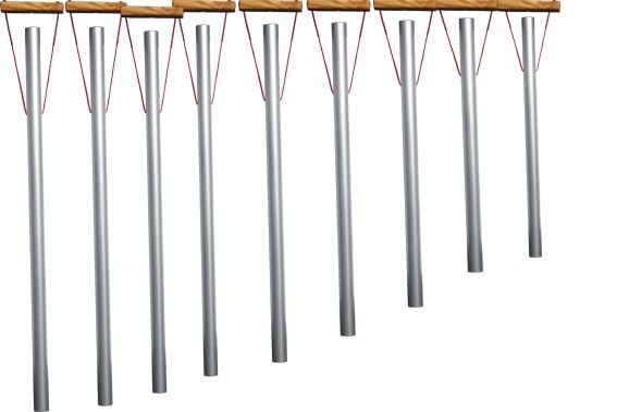 Klangröhren einzeln mit Haltegriff , 8 Töne diatonisch c-c'